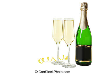 Glasses of champagne with bottle on a white background