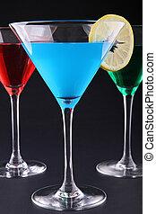 cocktail - glasses of cocktail on black background