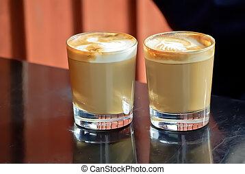 Glasses of coffee
