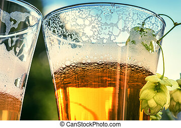Glasses of cold beer, closeup