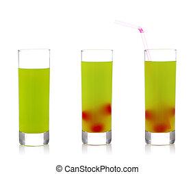 Glasses of fresh kiwi juice