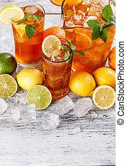 Glasses of iced tea