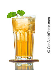 Glasses of iced tea with mint isolate on white background .