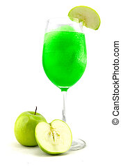 Glasses of juice, apples on white background