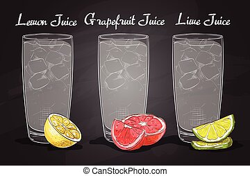 Glasses of juices on a blackboard