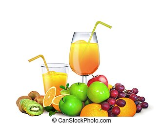 Glasses of Juices with Fresh Fruits