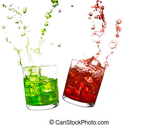 Glasses of olourful cold drinks with water splash and ice...