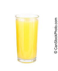glasses of orange fruit juice on white background