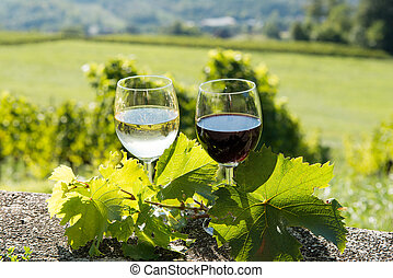 glasses of red and white wine with a vineyard in the background