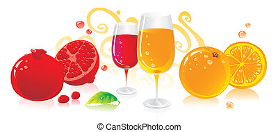 orange and pomegranate - Glasses of red and white wine with...