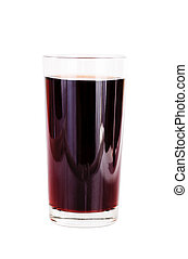 glasses of red fruit juice on white background