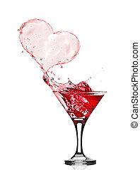 Glasses of Red Wine Abstract Heart Splash