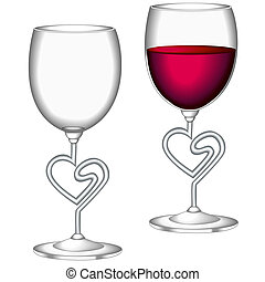 Glasses of red wine - Glasses of wine, one empty, one...