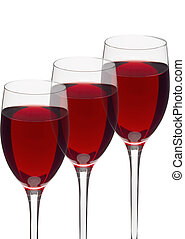 Glasses of red wine isolated on white