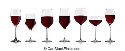 Glasses of red wine on white with reflection