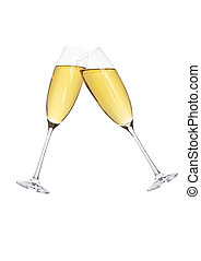 Glasses of sparkling champagne in motion for party