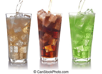 glasses of sweet water with ice cubes