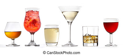 glasses of various drinks