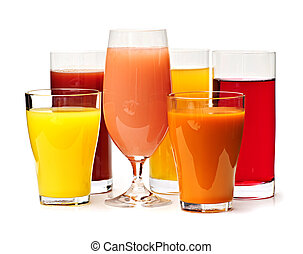 Glasses of various juices - Various glasses of juices ...