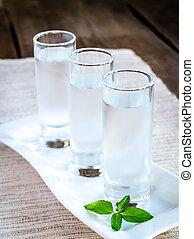 Glasses of vodka