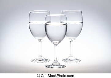 Glasses of Water on white background