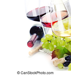 Glasses of white, red and rose wine and grapes over white