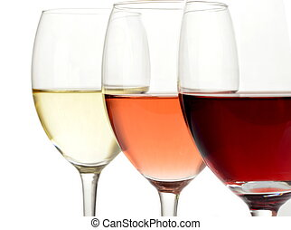 Glasses of white, rose and red wine