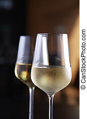 Glasses of white wine, Close up