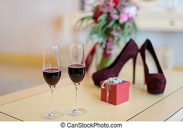 Glasses of wine and bouquet