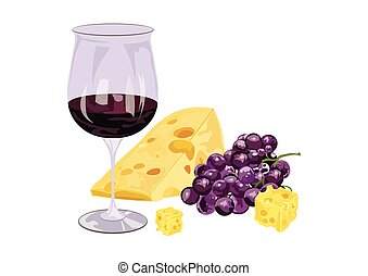 Glasses of wine with grapes and piece of cheese. Food...
