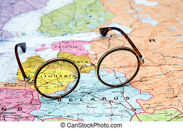 Glasses on a europe map - Lithuania - Photo of glasses on a ...