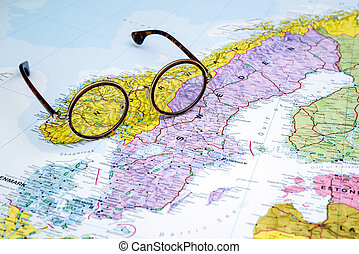 Highlighted Norway On Map Of Europe With National Flag Pictures - Where is norway on a map