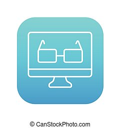 Glasses on computer monitor line icon.
