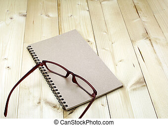 glasses on the notebook