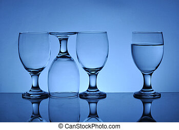 glasses on the table with reflection