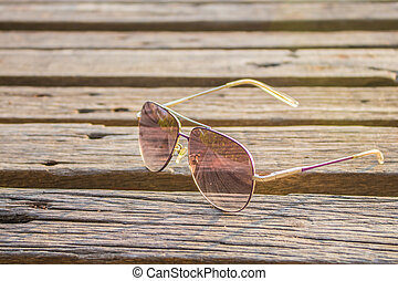 Glasses on the wooden