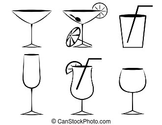 glasses outline  - cocktail glasses