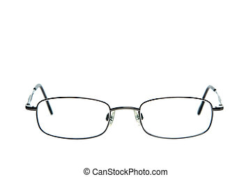 Pair of spectacles against a white background shallow DOF