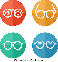 glasses set - vector illustration - Set of flat colored...