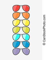 Glasses set with rainbow lenses. Sunglasses icon. LGBT sign. Gay flag symbol. Flat design. White background. Isolated.