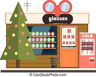 Glasses Shop Front in Christmas. Vector Illustration - ...