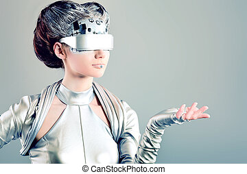 glasses - Shot of a futuristic young woman.