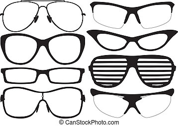 Glasses Silhouette Set on white background