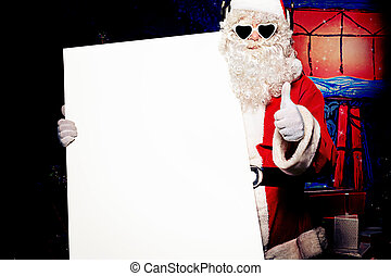 glasses - Party Santa Claus holding white board over...