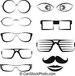 glasses vector set.