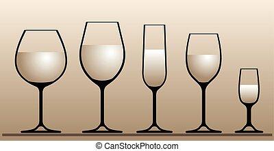 glasses., vino