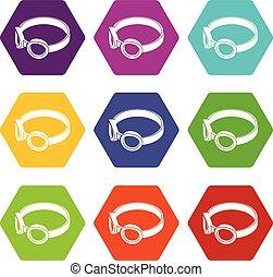 Glasses welding mask icons set 9 vector