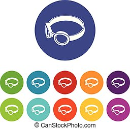 Glasses welding mask icons set vector color