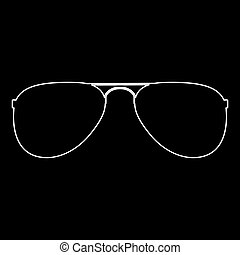 Glasses white color path icon .