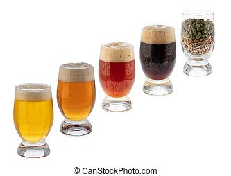 Glasses With Beer, Malt And Hop